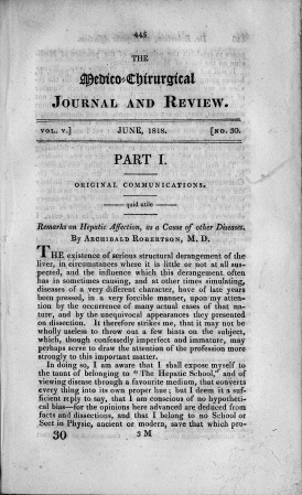 Title page of The medico-chirurgical journal and review.
