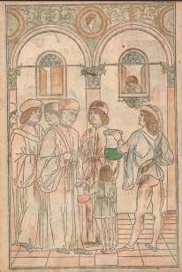 A group of robed people stand in a fine room while a child and a well off man offer them samples in glass vessels.
