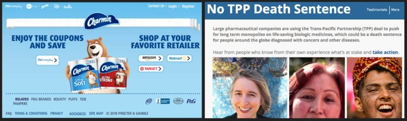 Screen captures of non-relevant results. including a Charmin ad and a petition from a cancer organization.