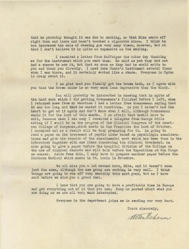 Page 3 of a trypwritten letter signed by Alton Ochsner.