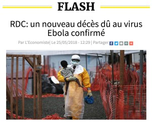 A screen capture of a news story in L'Economiste about Ebola dated May 25, 2018