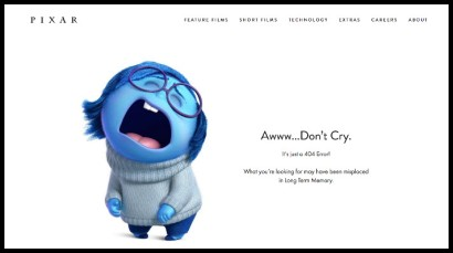 """The Pixar 404 page says """"Aww...Don't Cry"""" illustrated by Sadness from the film Inside Out."""