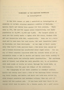 Typed first page of Midwifery in the Kentucky Mountains: An Investigation manuscript by Mary Breckinridge