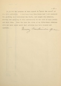 Typed last page of Midwifery in the Kentucky Mountains: An Investigation manuscript signed by Mary Breckinridge
