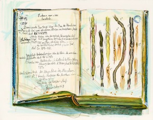 A drawing of an open sketchbook displaying a face, a list, and sketches of rope-like structures in color.