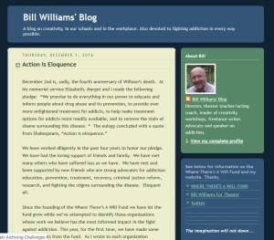 """Screenshot from Bill Williams' Blog, a December 2016 post titled """"Action is Eloquesnce."""""""
