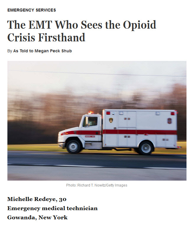 "Screenshot of the start of a blog post titled ""The EMT Who Sees the Opiod Crisis Firsthand."""