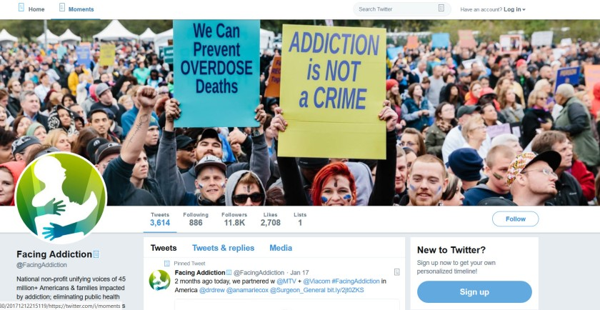 Screenshot of the Facing Addiction Twitter page at 11.8K followers and 3,614 tweets.