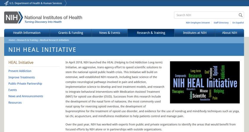 Screenshot of the NIH Heal Initiative website.