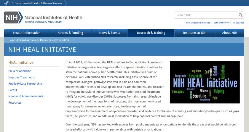 Screenshot of the NIH Heal Initiative website.
