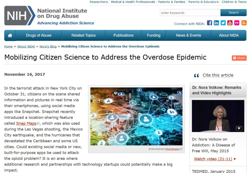 "Screenshot of the National Institute on Drug Abuse 2017 blog article titled ""Mobilizing Citizen Science to Address the Overdose Epidemic."""
