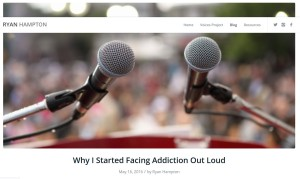 "Screenshot from ""Why I Started Facing Addiction Out Loud"" Blog post from May 16, 2016 by Ryan Hampton"