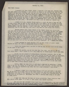 A typwritten letter from Stan to Uncle George, dated October 15, 1918, France.