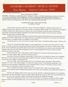 Press release dated 2/14/77 titled Recombinant DNA: Fact and Fiction by Stanley N. Cohen.