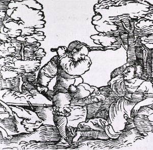 A woodcut in which a hot-tempered, choleric man has raised a stick to strike a woman who has fallen to the ground.