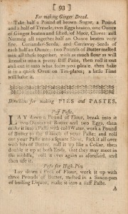 A page from a printed book including a recipe for ginger bread