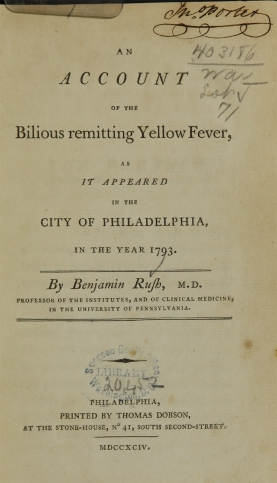 Title page for An Account of the Bilious Remitting Yellow Fever bu Rush.