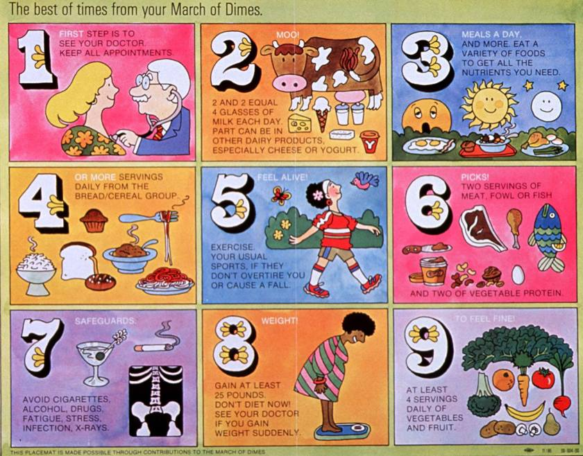 A nine-panel series of cartoons that outline steps for good prenatal health and nutrition. Images include a doctor listening to a woman's heart, a cow surrounded by calcium-rich foods, groups of grains, proteins, fruits and vegetables, a woman walking, possible sources of harm for the fetus, and a woman weighing herself.