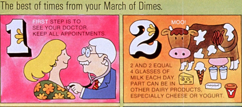 Panel from a prenatal health poster from the March of Dimes.