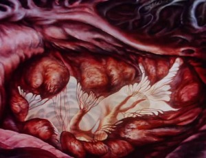Still of medical illustration showing the interior of a human heart.