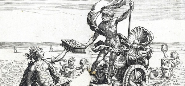 A 15th century engraving depicting an indiginous south american handing a box marked Inda Chocolata to Posidan , standing on a chariot in the sea.