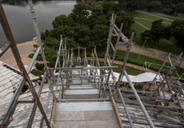 A view of the scaffolding from the top of the Jefferson Memorial dome.