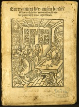 A worn page with a title and woodcut featuring women working at spinning while a man teaches.