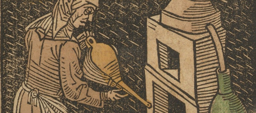 """woman tending to a """"Rosenhut"""" distilling furnace with bellows in hand and an alembic to the right."""
