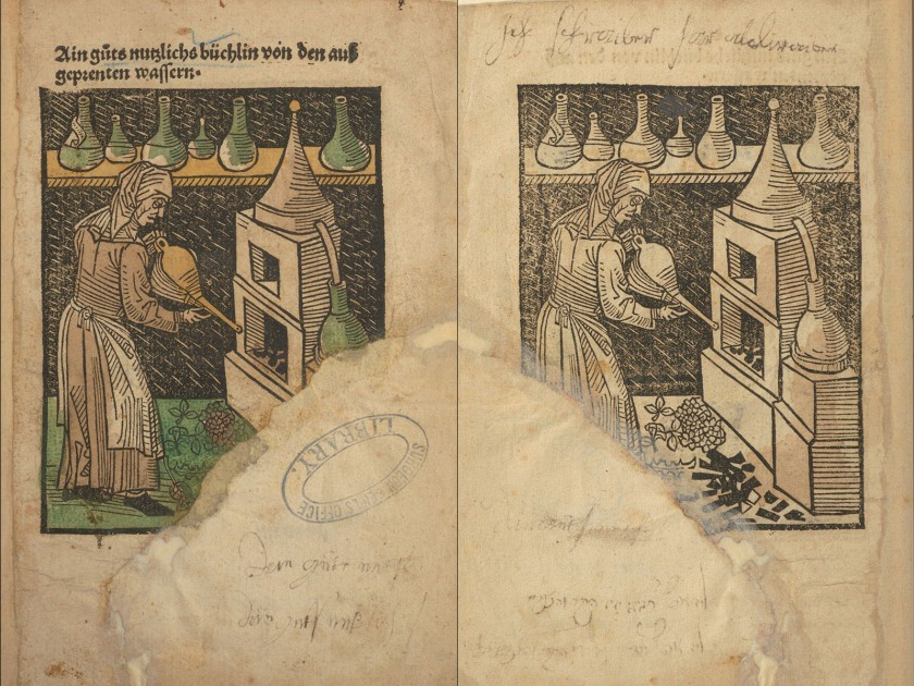 A composite image of two sides of a page showing the same woodcut, one side colored and a missing section with a repair.