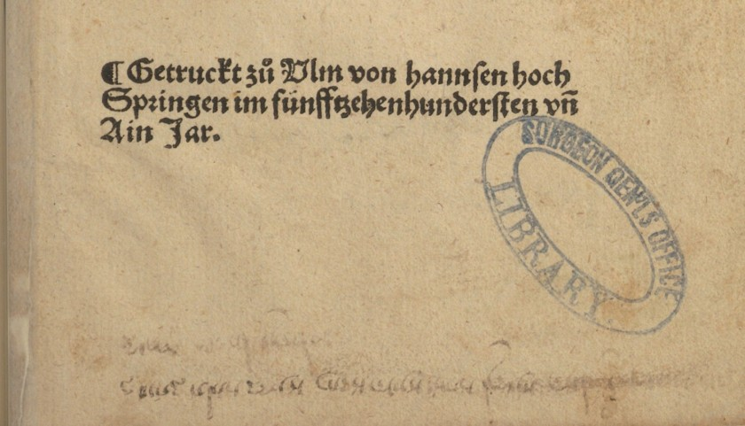 An detail of the printer's name in German, in a gothic style type.