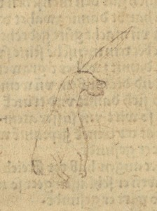 A hand drawn doodle of a four legged animal seated, with a face like a dog and a long horn on the top of its head.