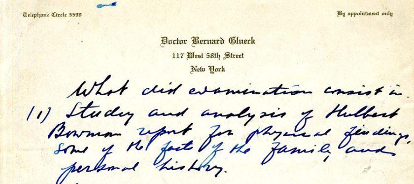 A handwritten list of objectives on Glueck's letterhead.