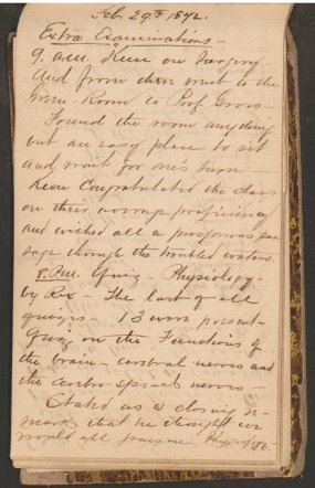 A handwritten page in a diary headed Extra Examinations