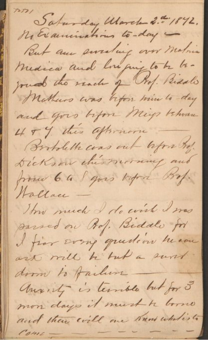 """Handwritten page in a diary - """"Saturday...no examination today...But am sweating..."""""""