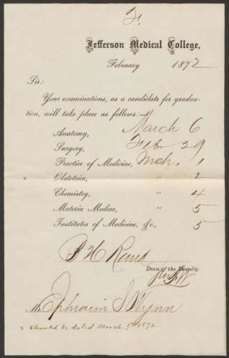 Printed paper form with dates and signatures filled in.