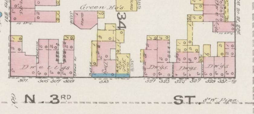 A plan view of townhouses on the 300 block of N. 3rd street.
