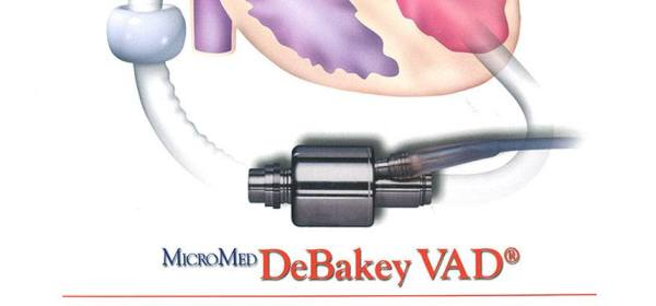 Detail from a brochure for the Micromed DeBakey VAD medical dvice.