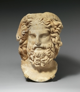 Marble head of Zeus Ammon, Marble, Roman