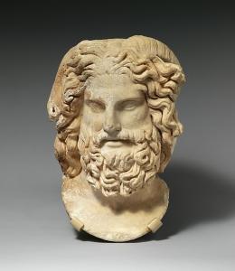 Marble head of Zeus Ammon, Marble, Roman