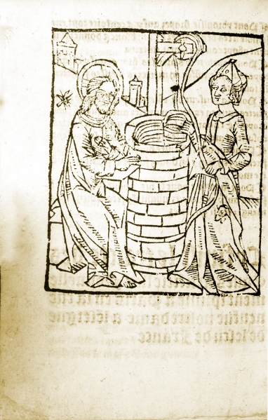 A woodcut showing a woman working at a well while man with a halo watches.
