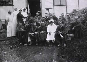 Black and white photograph of a group of men and women.